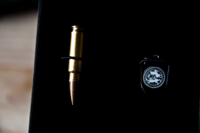 The first clue to my gift: The bullet (which is real) and the USB memory