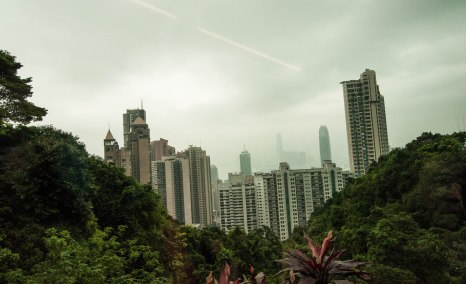 View over the city, on the tram to Victoria Peak. Photo by Veronica Lopez